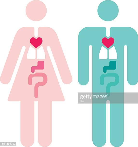 ilustraciones, imágenes clip art, dibujos animados e iconos de stock de male and female internal organs symbols - símbolo de género