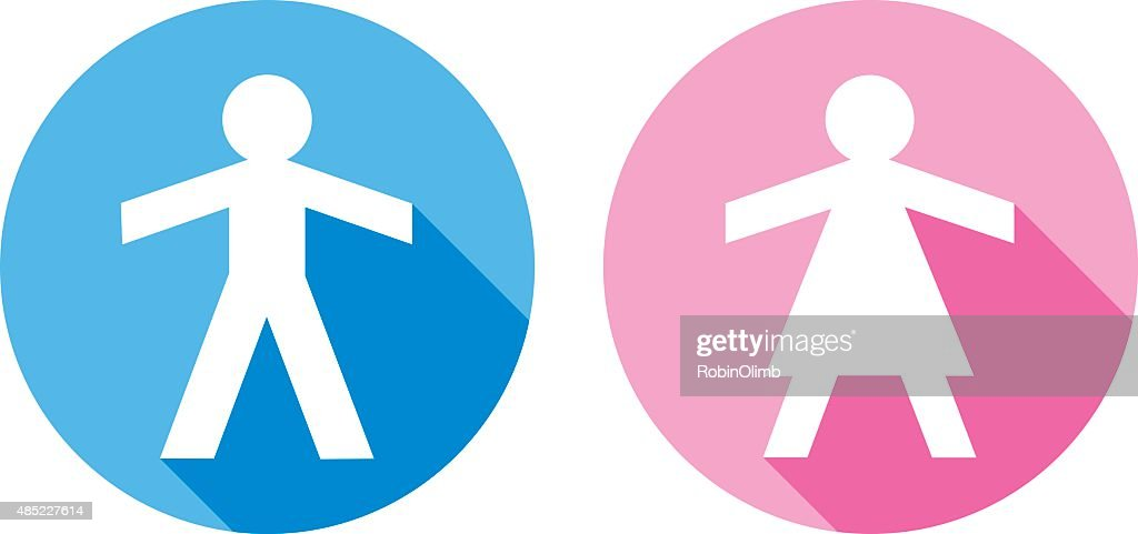 male and female paper doll icons vector art | getty images