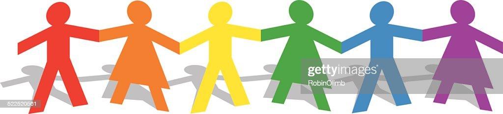 男性と女性の手をつなぐレインボー図 : ストックイラストレーション