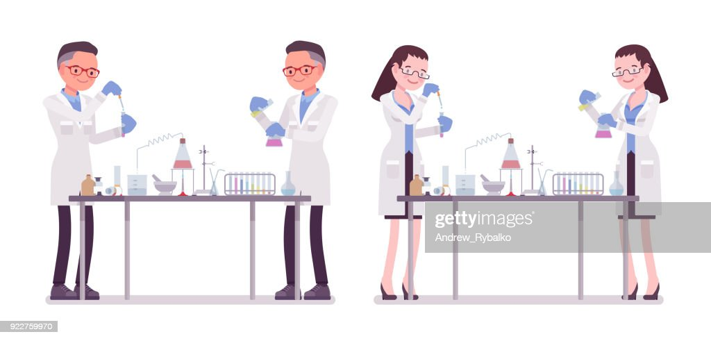 Male and female scientist in chemical experiments