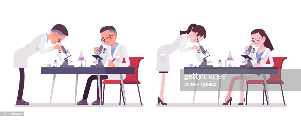 Male and female scientist with microscope