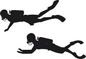 Male and female scuba divers silhouettes