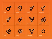 Male and Female sex symbol icons on orange background