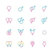 Male and female sexual orientation icon set in thin line style