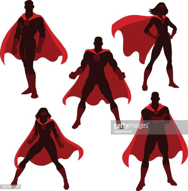 male and female superhero silhouettes - heroes stock illustrations