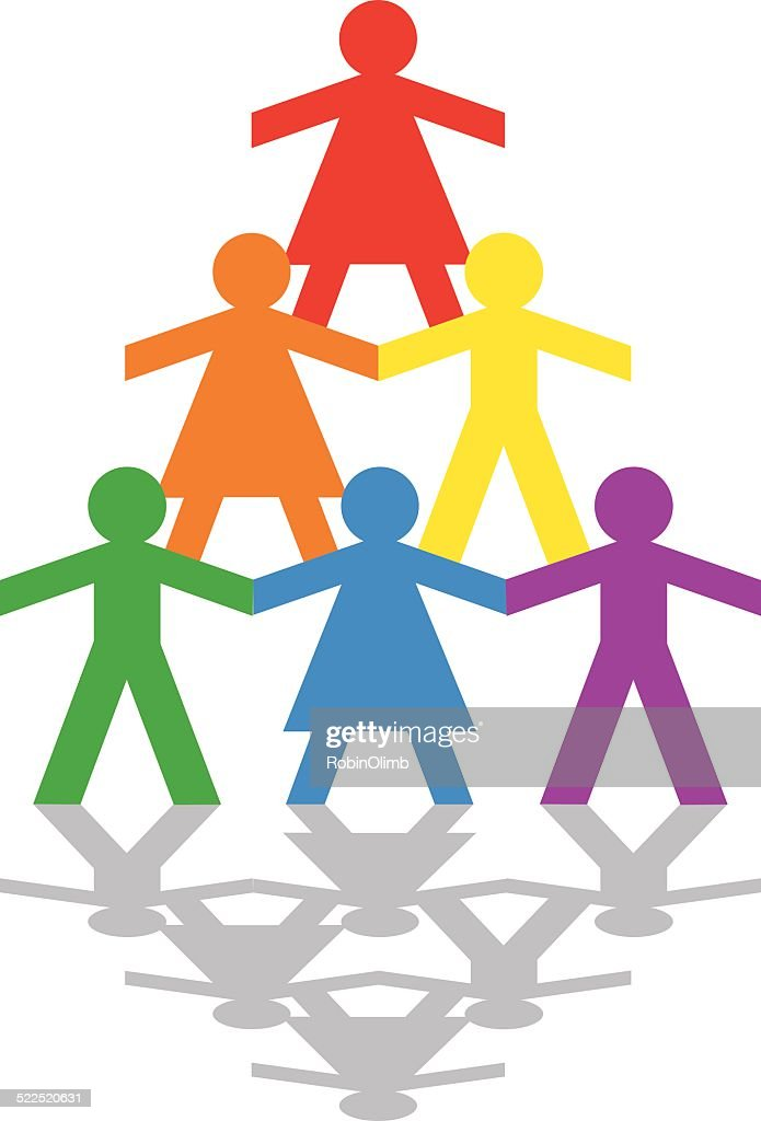 Male AndFemale Rainbow Pyramid : stock illustration