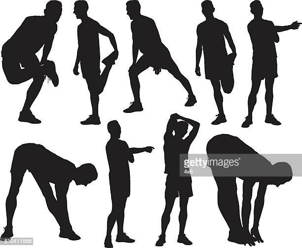 male athlete exercising - stretching stock illustrations