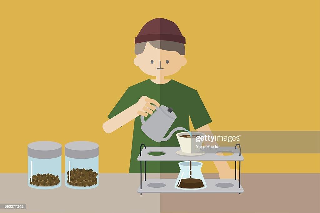 Male barista making a coffee : stock illustration