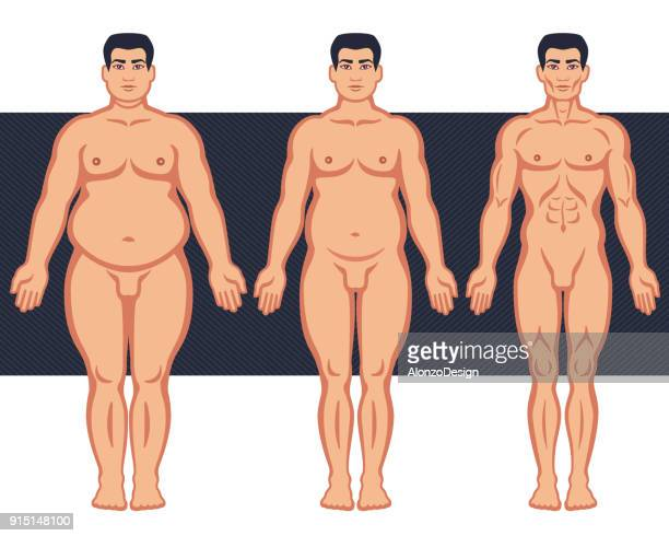 male before and after diet - slim stock illustrations, clip art, cartoons, & icons