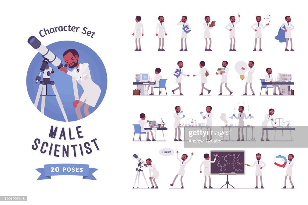 Male black scientist ready-to-use character set.