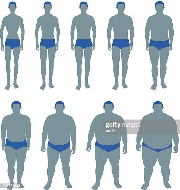 ilustraciones, imágenes clip art, dibujos animados e iconos de stock de índice de masa corporal (imc) macho - bulimia