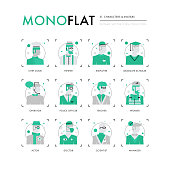 Male Characters Monoflat Icons