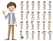 male charactor set. Various poses and emotions.