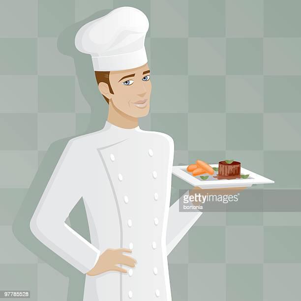 Männlichen Chef mit Filet Mignon