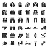 Male clothes and accessories solid icon set 1
