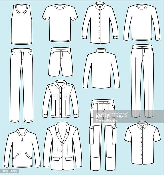 male clothing - trousers stock illustrations