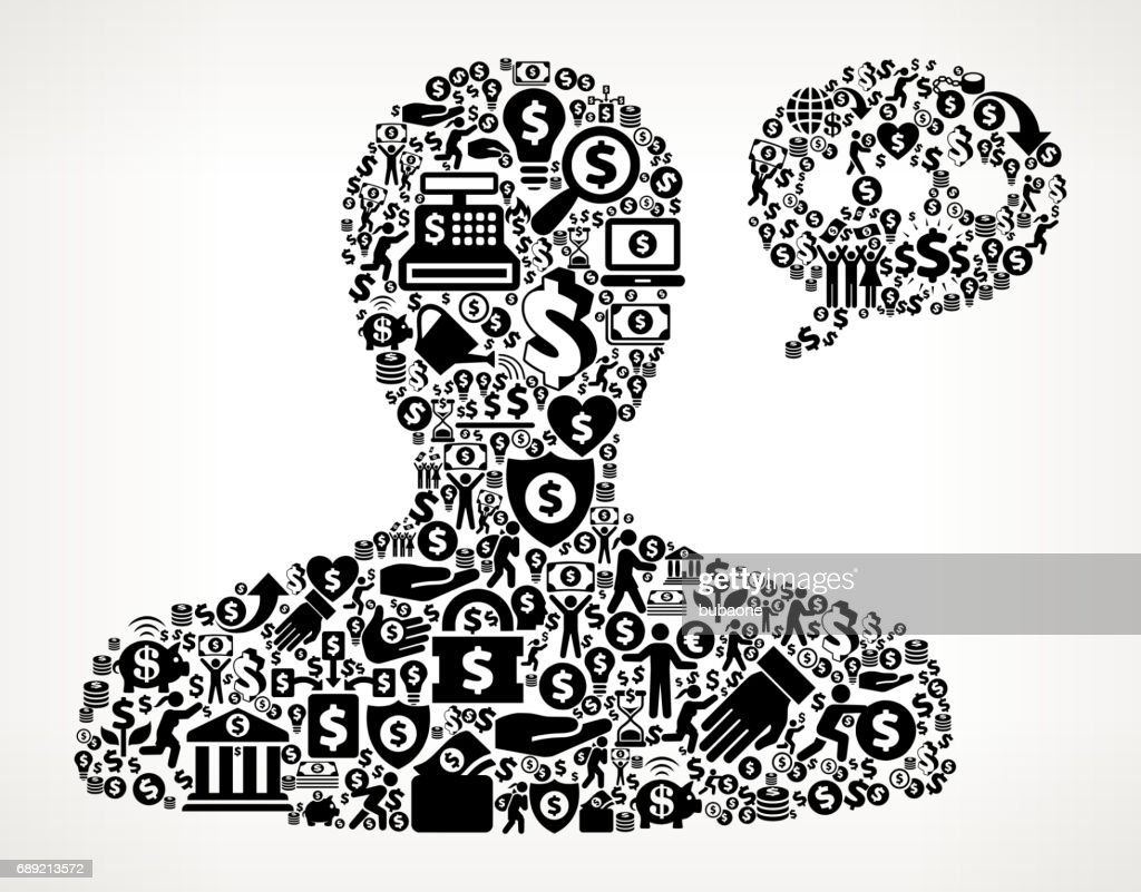 Male Communication Head Money and Finance Black and White Icon Background : Stock Illustration