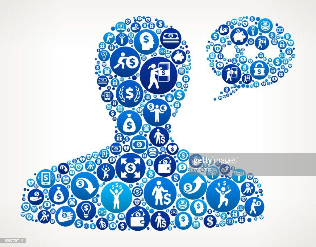 Männliche Kommunikation Kopfgeld blaues Symbol Muster Hintergrund : Stock-Illustration