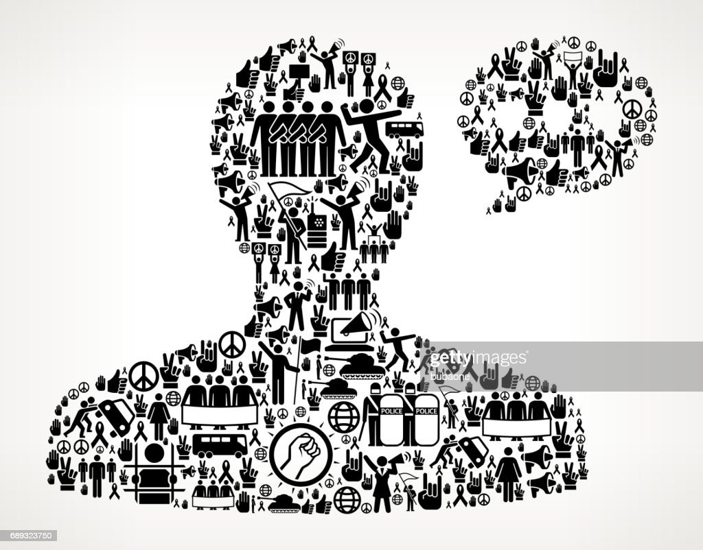 Male Communication Head Protest and Civil Rights Vector Icon Background : Stock Illustration