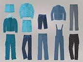 Male denim clothing in flat design