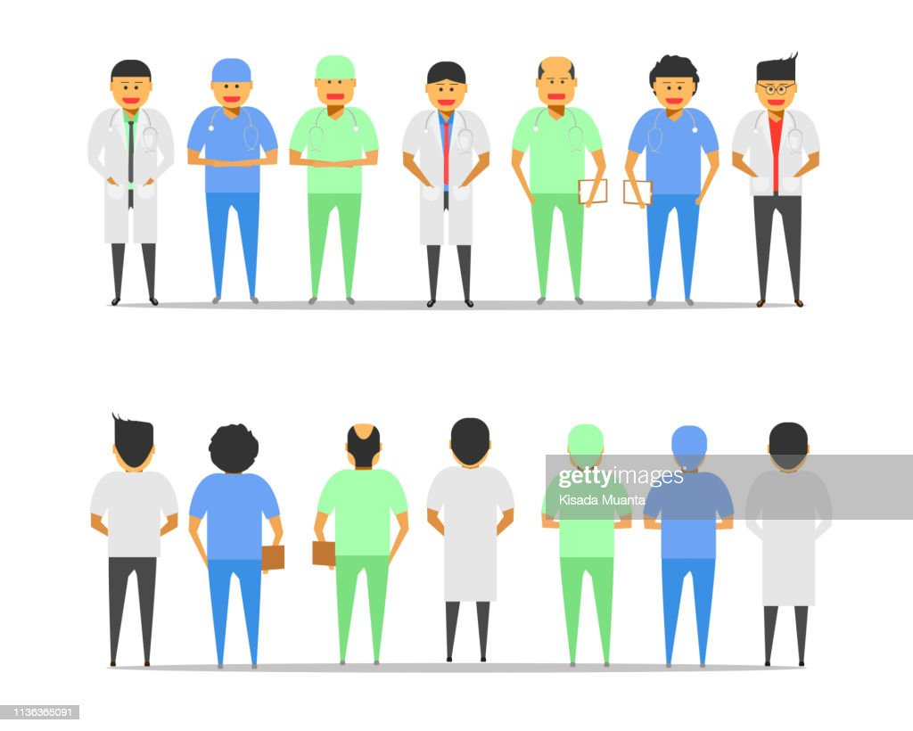 male doctor group front-back view vector illustration ep10