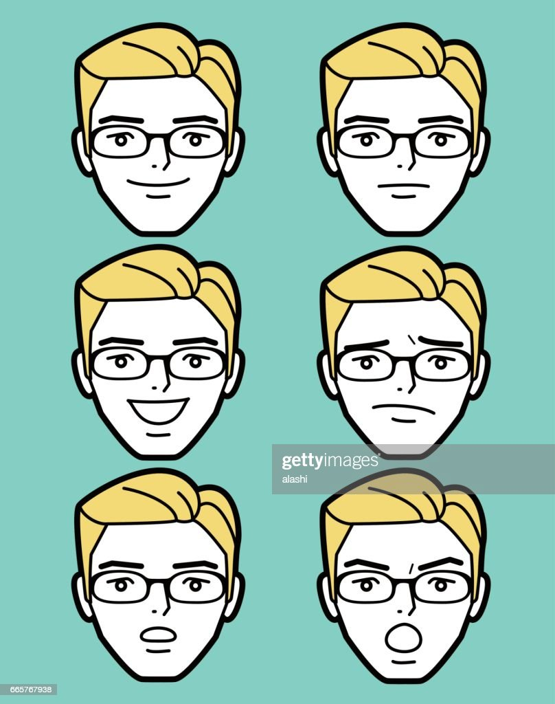 Male emoticon Mature adult man face wearing glasses