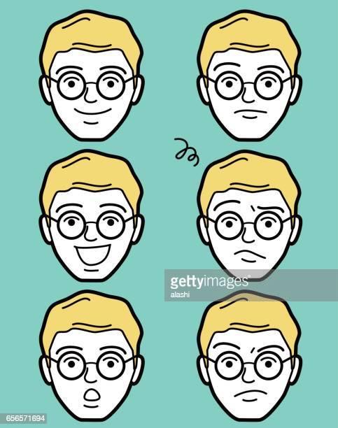 ilustrações, clipart, desenhos animados e ícones de rosto de homem adulto maduro emoticon masculino com rodada óculos (óculos de círculo) - cartoon characters with curly hair