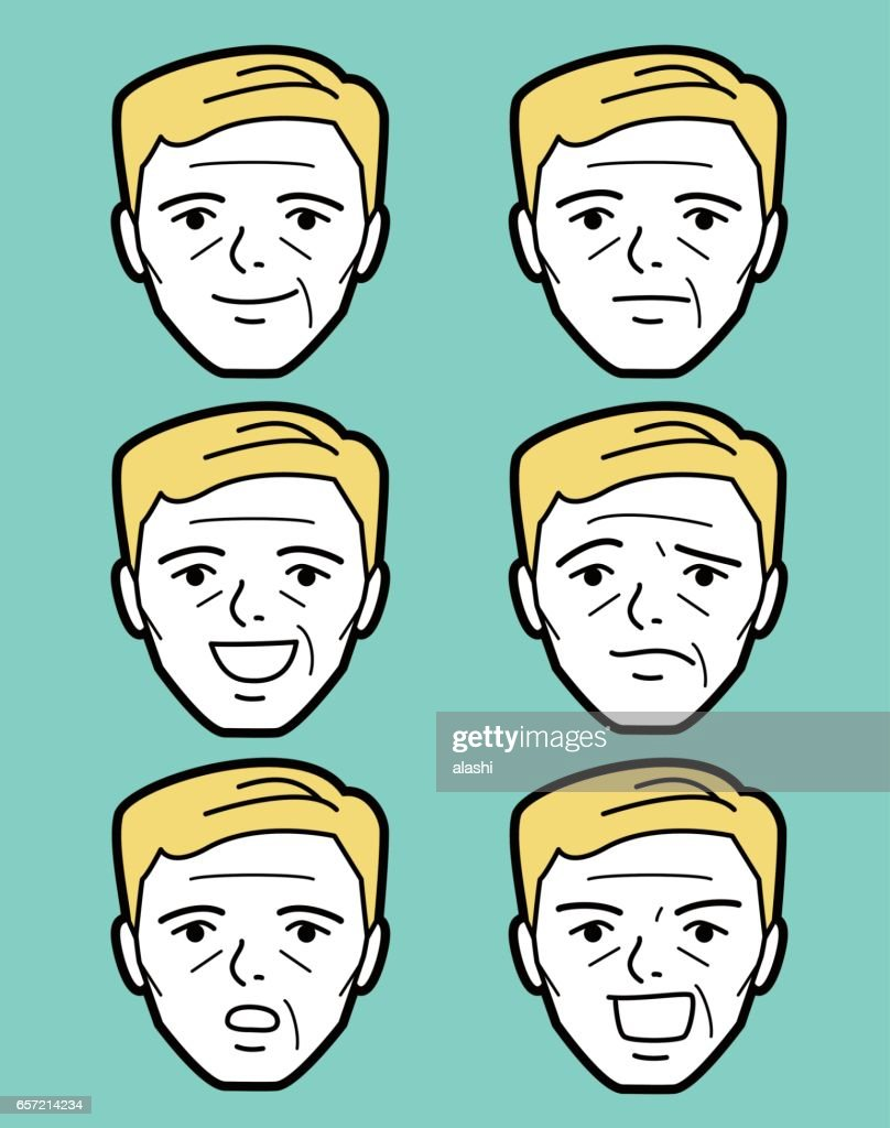 Male emoticon middle age man face