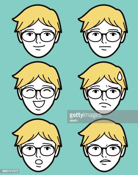 Male emoticon young adult man face with eyeglasses