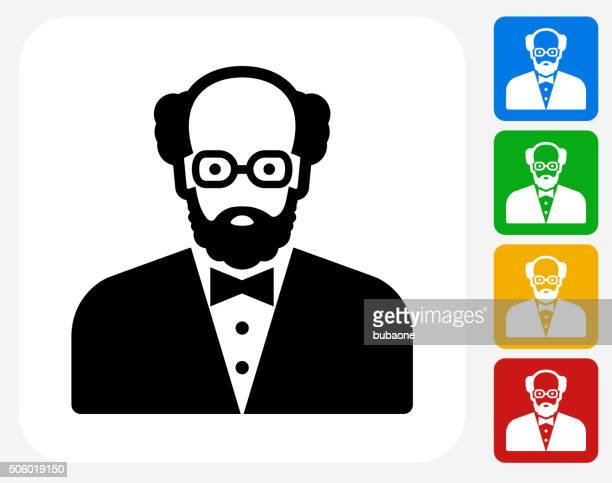 male face icon flat graphic design - balding stock illustrations, clip art, cartoons, & icons