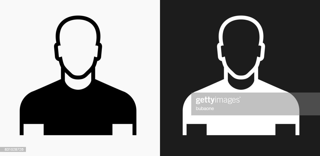 Male Face Icon on Black and White Vector Backgrounds