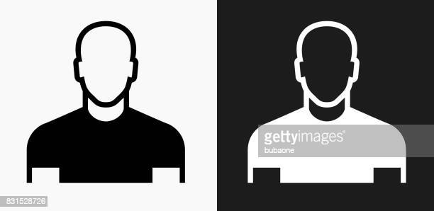 male face icon on black and white vector backgrounds - balding stock illustrations, clip art, cartoons, & icons