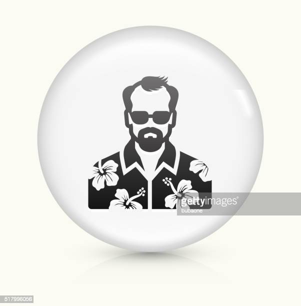 male face icon on white round vector button - hawaiian shirt stock illustrations