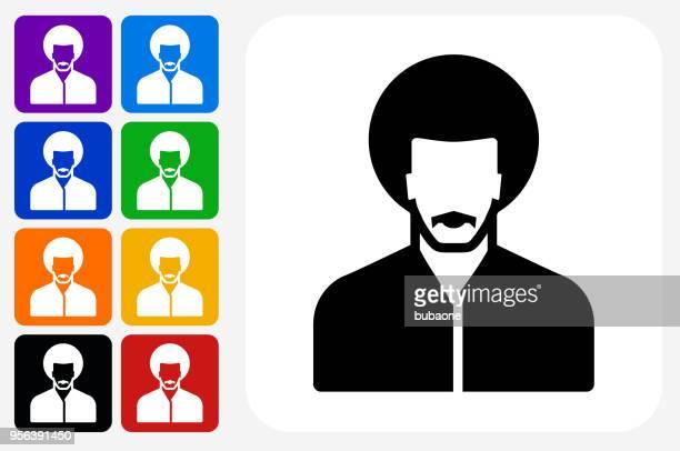 Male Face Icon Square Button Set