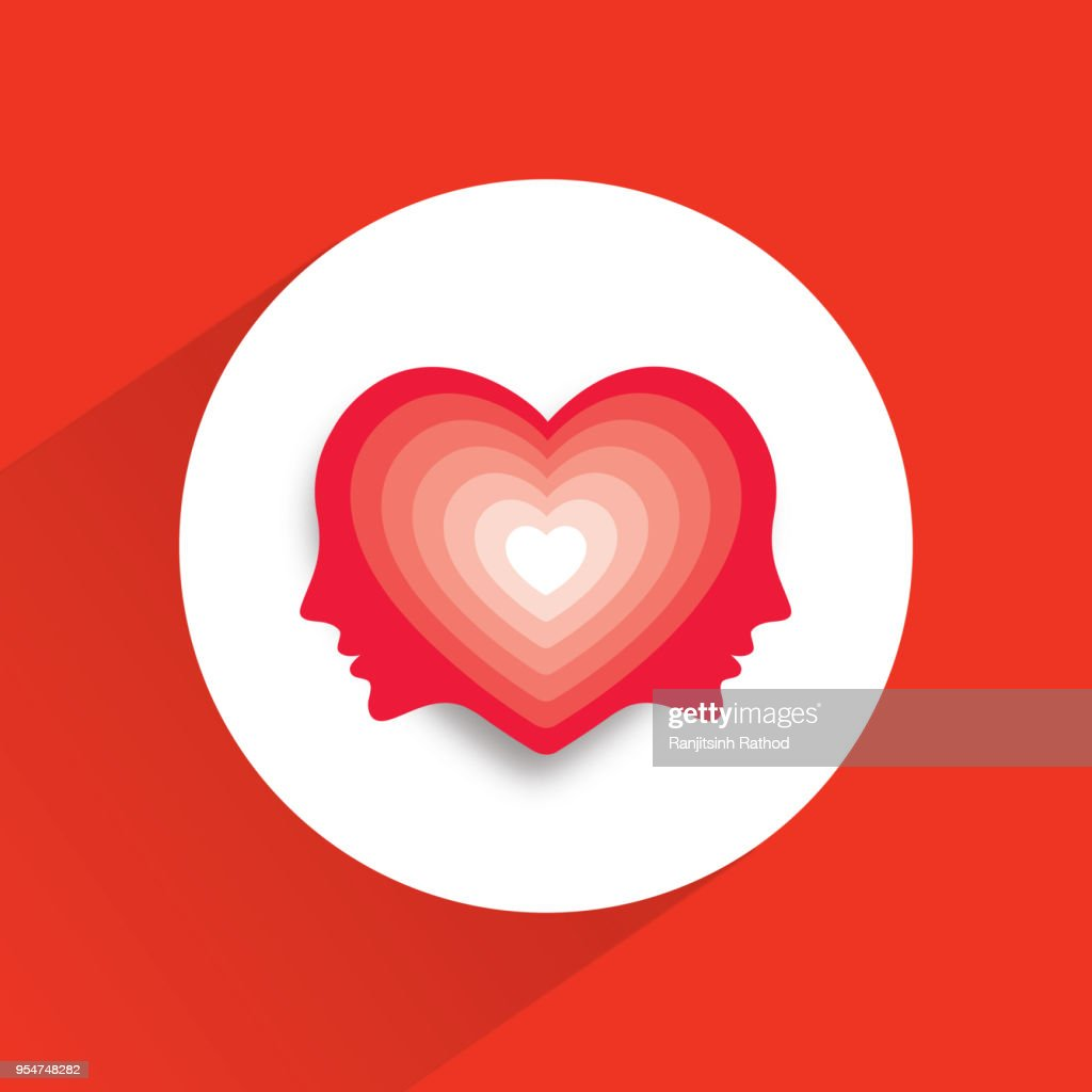 Male face with heart symbol in their head : stock illustration