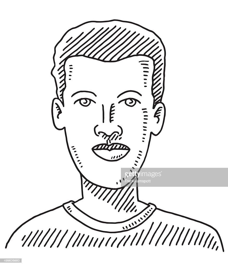 男性の顔の若い男性の描出 : ストックイラストレーション