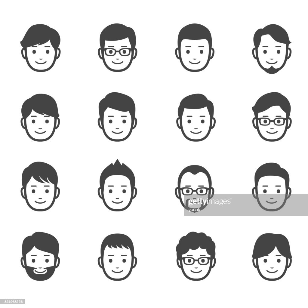 Male faces icons : stock illustration