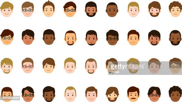 male faces icons - men stock illustrations