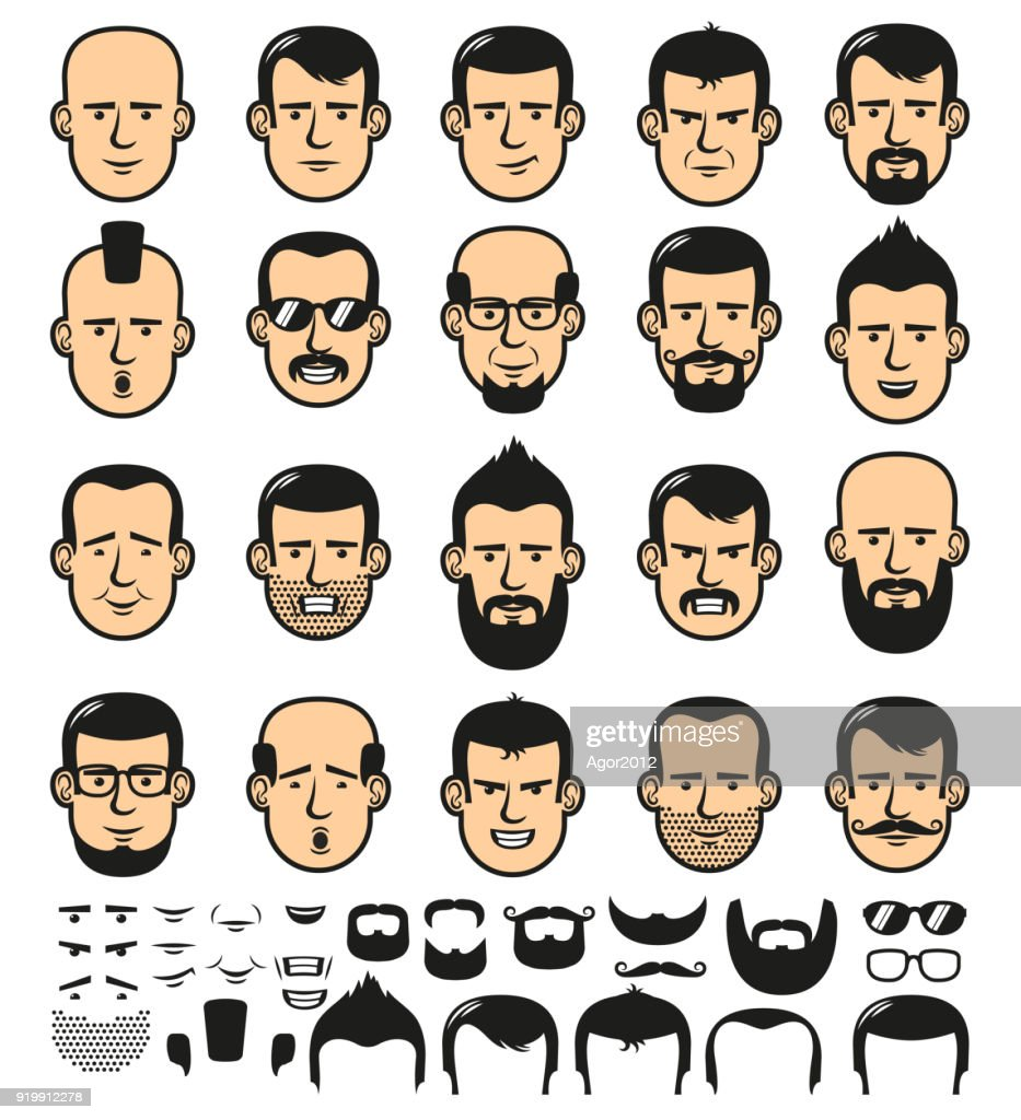 Male faces with haircuts