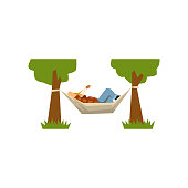 Male farmer lying in a hammock, hammock hanging between green trees vector Illustration on a white background