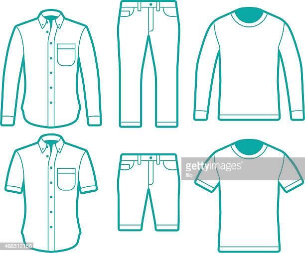 Male Fashion Dress Shirts, T-Shirts and Pants Symbols