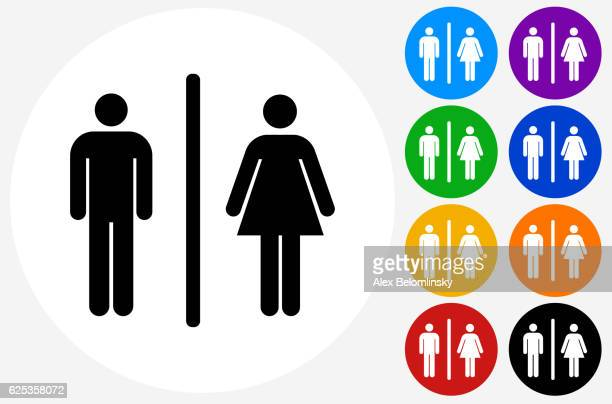 Image of: Men S Bathroom Sign Vector Throughout Male Female Bathroom Sign Icon On Flat Color Circle Buttons Restroom Vector Art And Graphics Getty Images