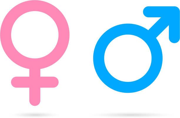 male female icons - femininity stock illustrations