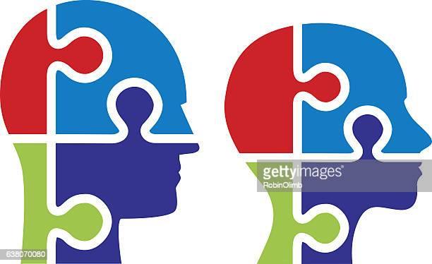 male female puzzle piece heads - menschlicher kopf stock-grafiken, -clipart, -cartoons und -symbole