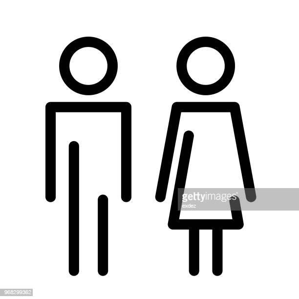 male female restroom sign - bathroom stock illustrations, clip art, cartoons, & icons