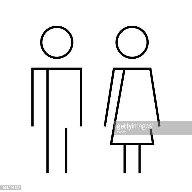 male female restroom sign - toilet sign stock illustrations, clip art, cartoons, & icons