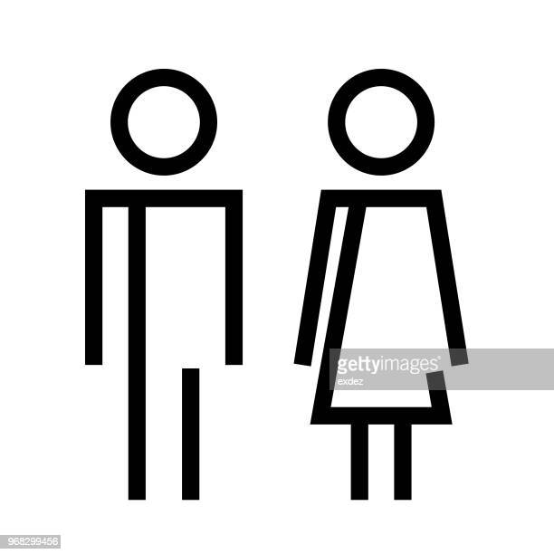 male female restroom sign - bathroom stock illustrations, clip art, cartoons, & icons