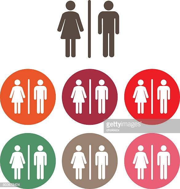 male female symbol - toilet sign stock illustrations, clip art, cartoons, & icons