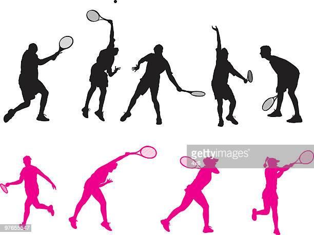 ilustraciones, imágenes clip art, dibujos animados e iconos de stock de macho & hembra de jugadores de tenis - raqueta de tenis