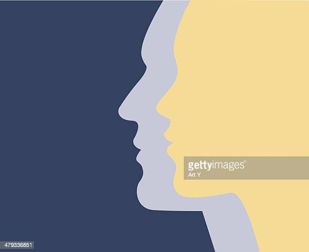 male & female - side view stock illustrations